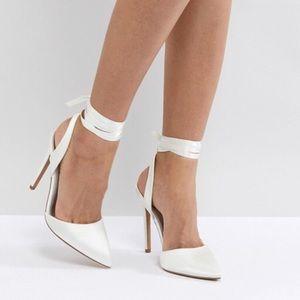 ASOS White Ankle Wrap Bridal Heels